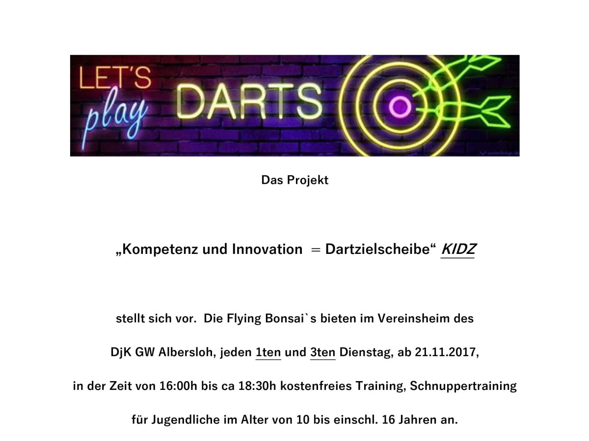 Darts Jugendtraining: KIDZ
